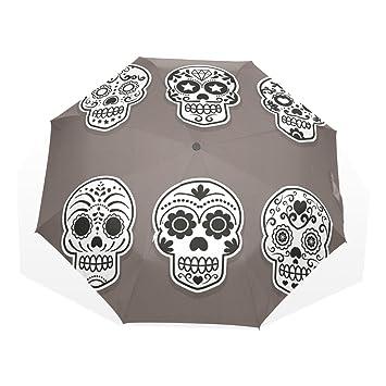 GUKENQ - Paraguas de Viaje con diseño de Calavera de azúcar, Ligero, antirayos UV