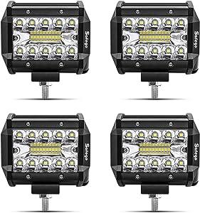 Safego LED Pods Light Bar 4Pcs 4inch 60W 6000Lm Spot Beam Driving Lights Fog Off Road Lights Triple Row Waterproof LED Work Lights for Trunk ATV UTV SUV Boat