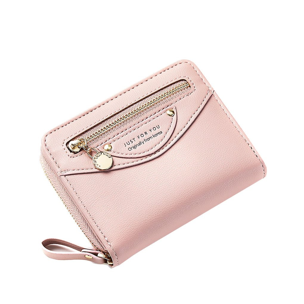 01267a2bc Galleon - Women Compact Bifold Leather Pocket Wallet Ladies Mini Purse Coin  Pouch Small Zipper Pocket Card Holder Flap Greypink