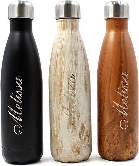 Libre de BPA 350 ml // 500 ml // 750 ml Botellas t/érmicas de Doble Capa Bebidas fr/ías 24h y Calientes 12h Getsingular Botellas de Agua de Acero Inoxidable Personalizadas con Tu Nombre
