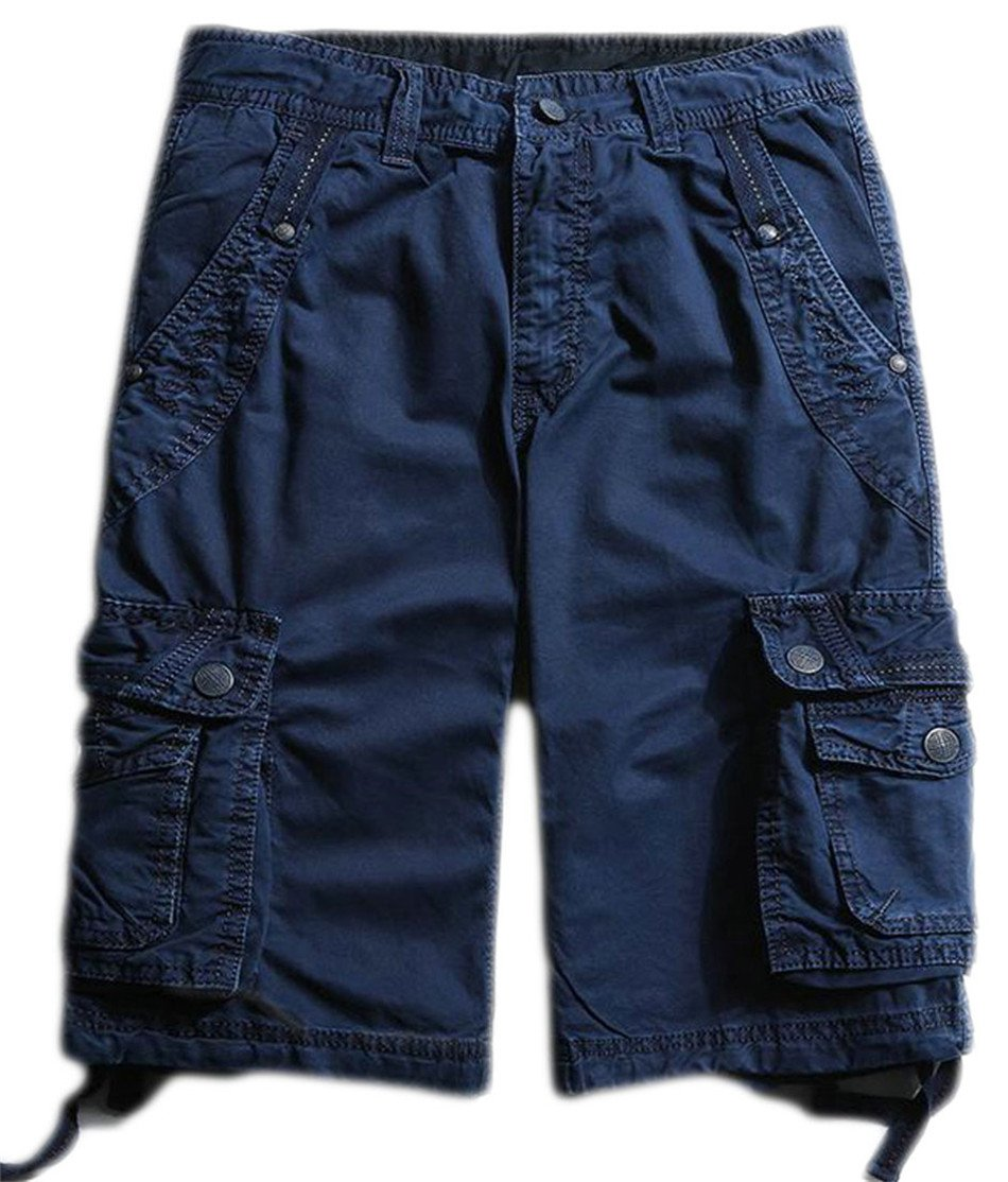 P&E Men Classic Rugged Multi Pocket Outdoor Straight Cargo Shorts Jewelry Blue 38