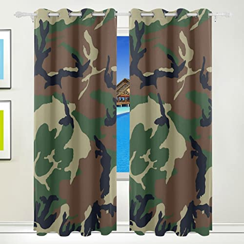 Home Care Ethel Ernest Camouflage Woodland Texture Window Blackout Curtain