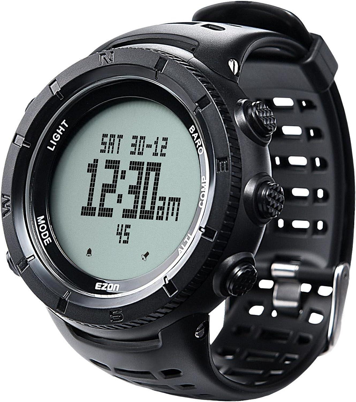 Reloj Deportivo Digital para Hombres para Senderismo al Aire Libre con brújula Altímetro Barómetro Termómetro Reloj Militar Resistente al Agua Reloj de Pulsera H001H11