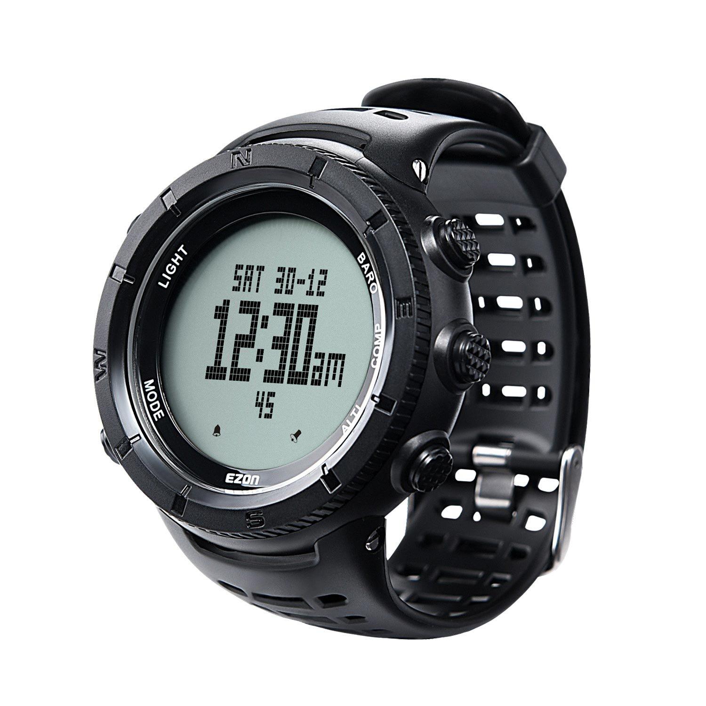 EZON H001H11 multifuncional senderismo reloj deportes al aire libre reloj digital con brújula / termómetro / barómetro / cronómetro / 5 ATM a prueba de ...