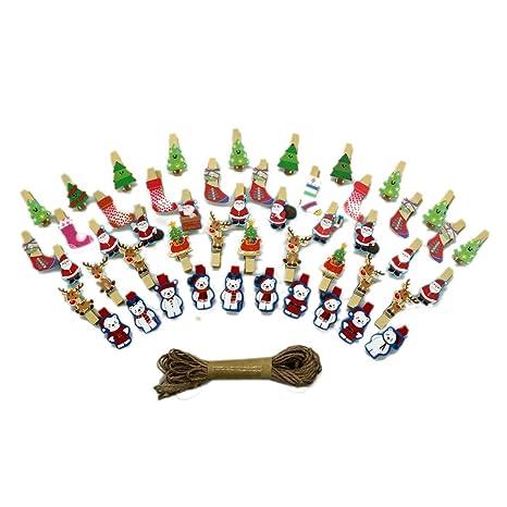 10962ef3ce JUN 50 Pcs Christmas Photo Clips, MIni Natural Wooden Clothespins Santa  Claus Socks Xmas Tree