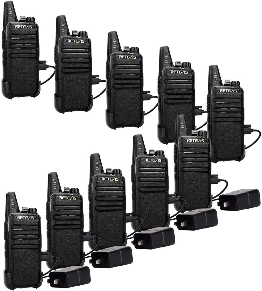 Retevis RT22 Walkie Talkies Rechargeable,Long Range Two Way Radio,2 Way Radio for Adults, Handsfree VOX Mini, for Business Office School Church Restaurant Retail Black,10 Pack