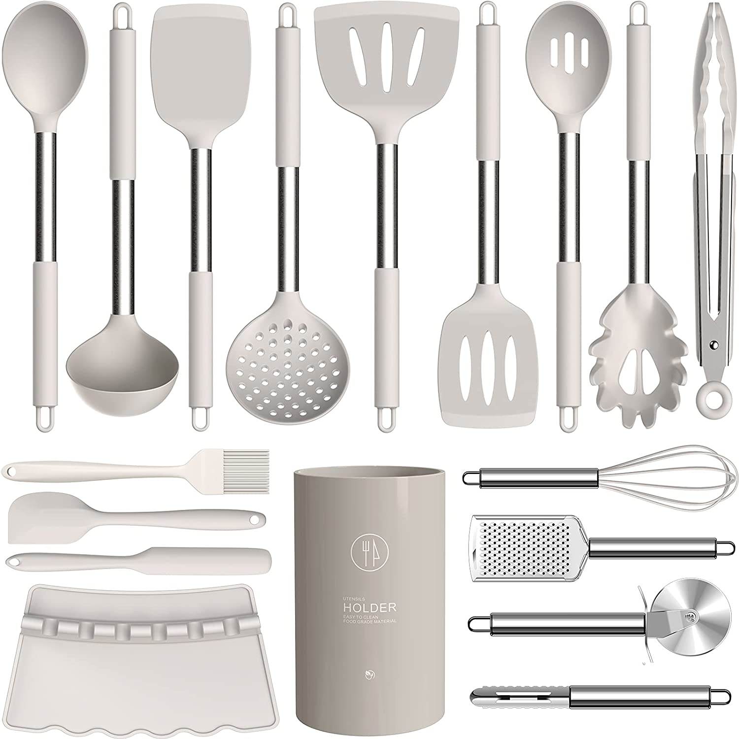 Silicone Cooking Utensils Set - Heat Resistant Kitchen Utensils,Turner Tongs,Spatula,Spoon,Brush,Whisk.Stainless Steel Khaki Silicone Cooking Tool for Nonstick Cookware.Dishwasher Friendly. (Large)