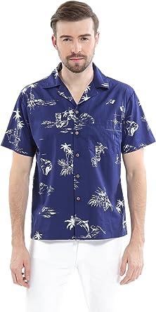 Hombres Aloha Camisa Hawaiana en Piña Azul Vintage: Amazon.es: Ropa y accesorios