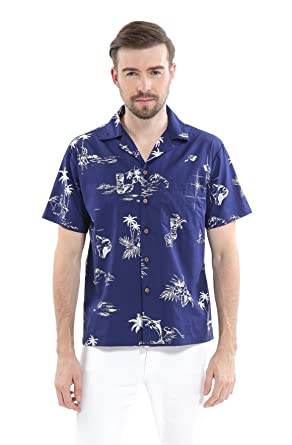 e2b6bc7e Men's Hawaiian Shirt Aloha Shirt in New Classic Design Map Flamingo Fish  Pineapple at Amazon Men's Clothing store: