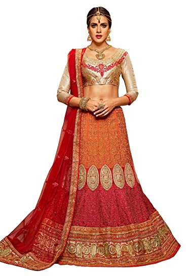 723f782d9a Akruti Sarees Royal Red Crepe Fabric Embroidered Pattern Lehenga With  Beautifull Gota Fabric Choli And Dupatta: Amazon.in: Clothing & Accessories