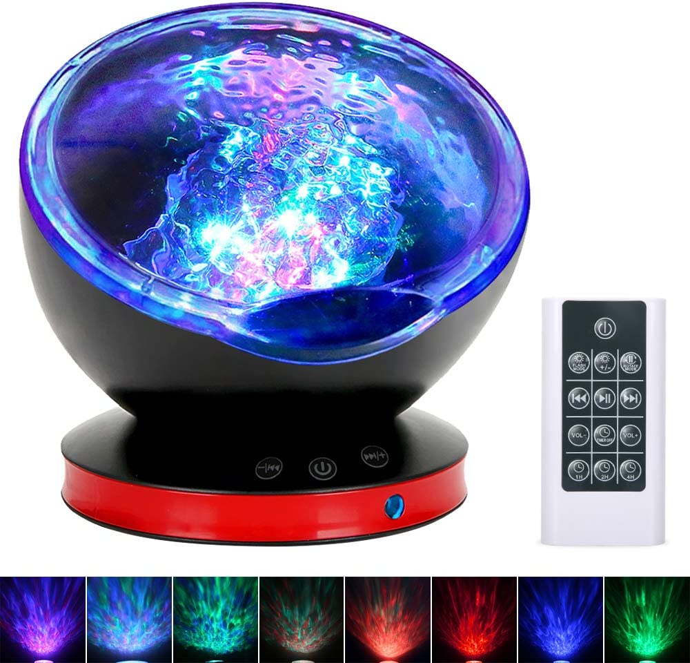 Ocean Wave Projector, Night Light Lamp with Adjustable Lightness Remote Control Timer 8 Lighting Modes Music Speaker Light Show LED Night Light Projector Lamp