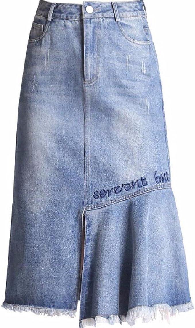 QPSSP Irregular Jeans, Larga Cintura, Cadera Cintura Falda, Falda ...