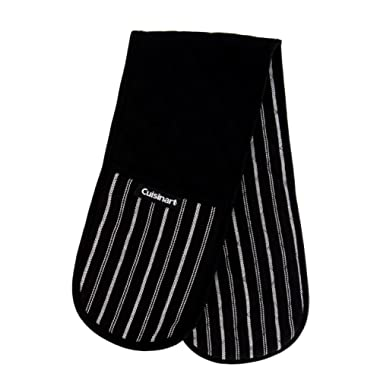 Cuisinart Quilted Double Oven Mitt, Twill Stripe, 7.5 x 35 inches - Heat Resistant Oven Gloves to Protect Hands and Arms - Great Set for Cooking, Baking, and Handling Hot Pots and Pans- Jet Black
