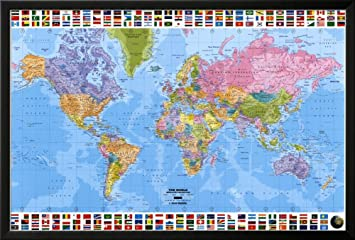 Amazon world map political lamina framed poster 38 x 26in world map political lamina framed poster 38 x 26in gumiabroncs Image collections