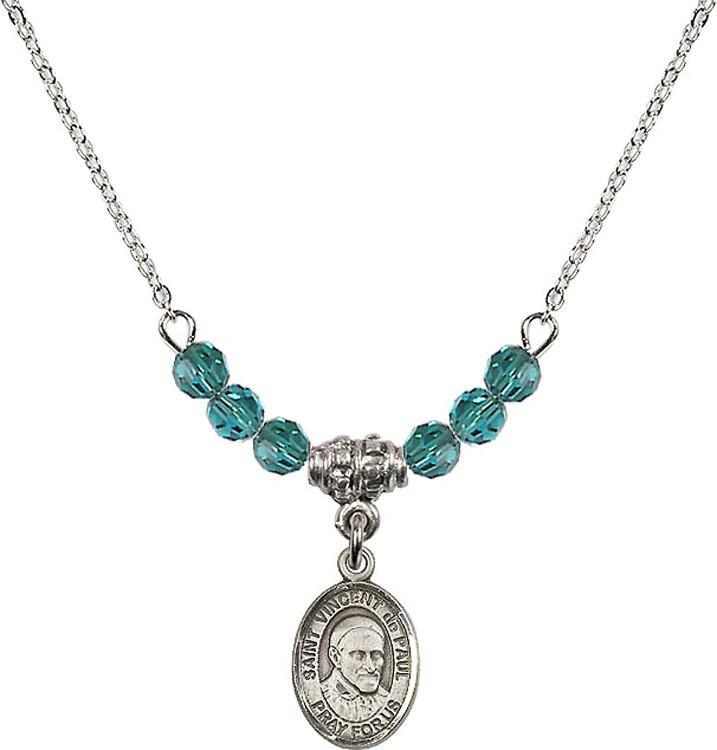 Bonyak Jewelry 18 Inch Rhodium Plated Necklace w// 4mm Blue December Birth Month Stone Beads and Saint Vincent de Paul Charm