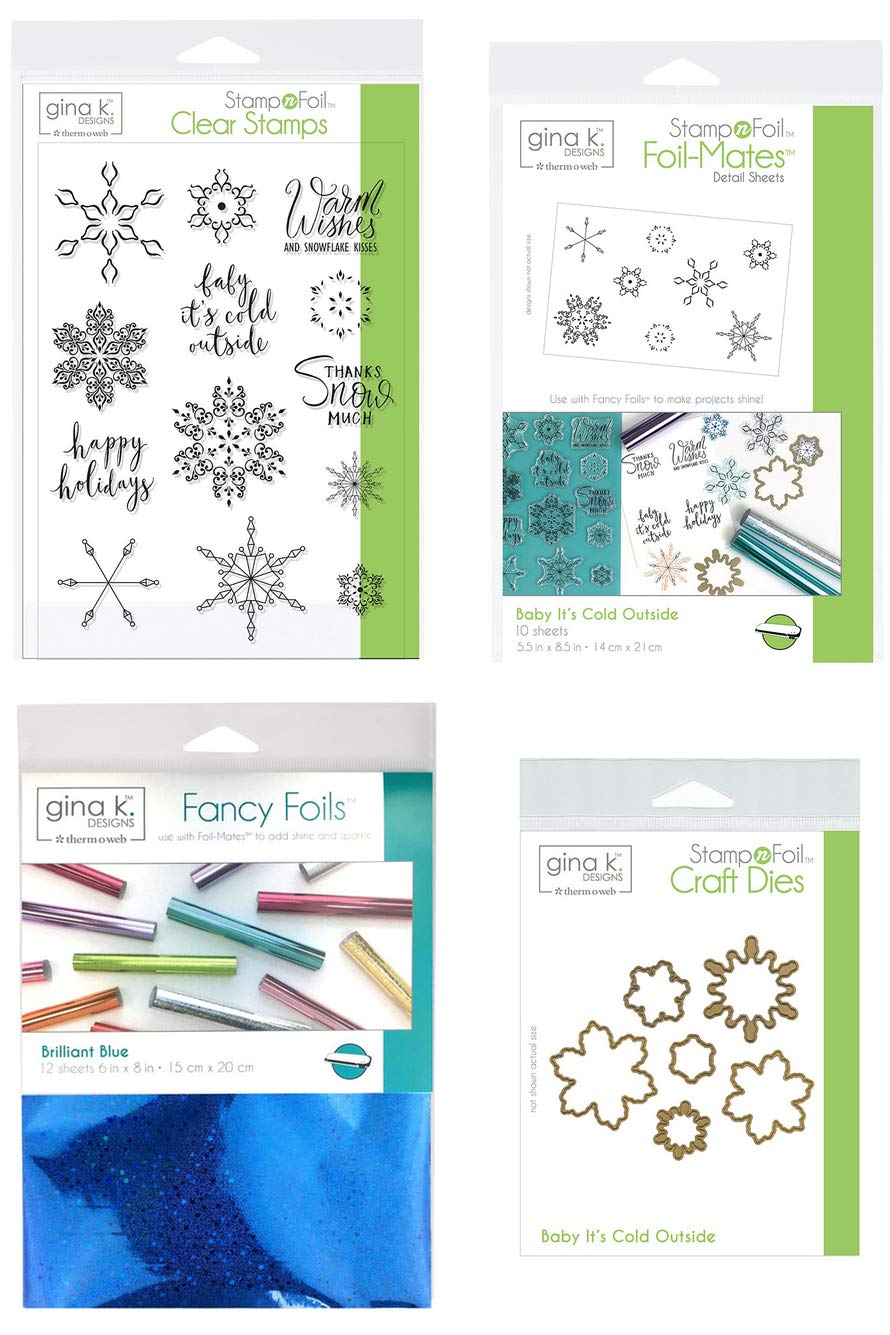 Gina K Stamp and Foil - Baby It's Cold Outside - Clear Stamps, Steel Dies, Foil-Mates Detail Sheets and Fancy Foil with Storage Pocket