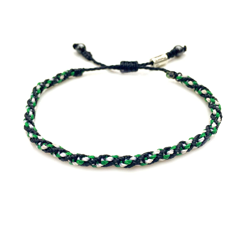 unisex Friendship Bracelet Adjustable Size waterproof surfing jewelry by Reef Knot co Bracelet For Him in shades of Green