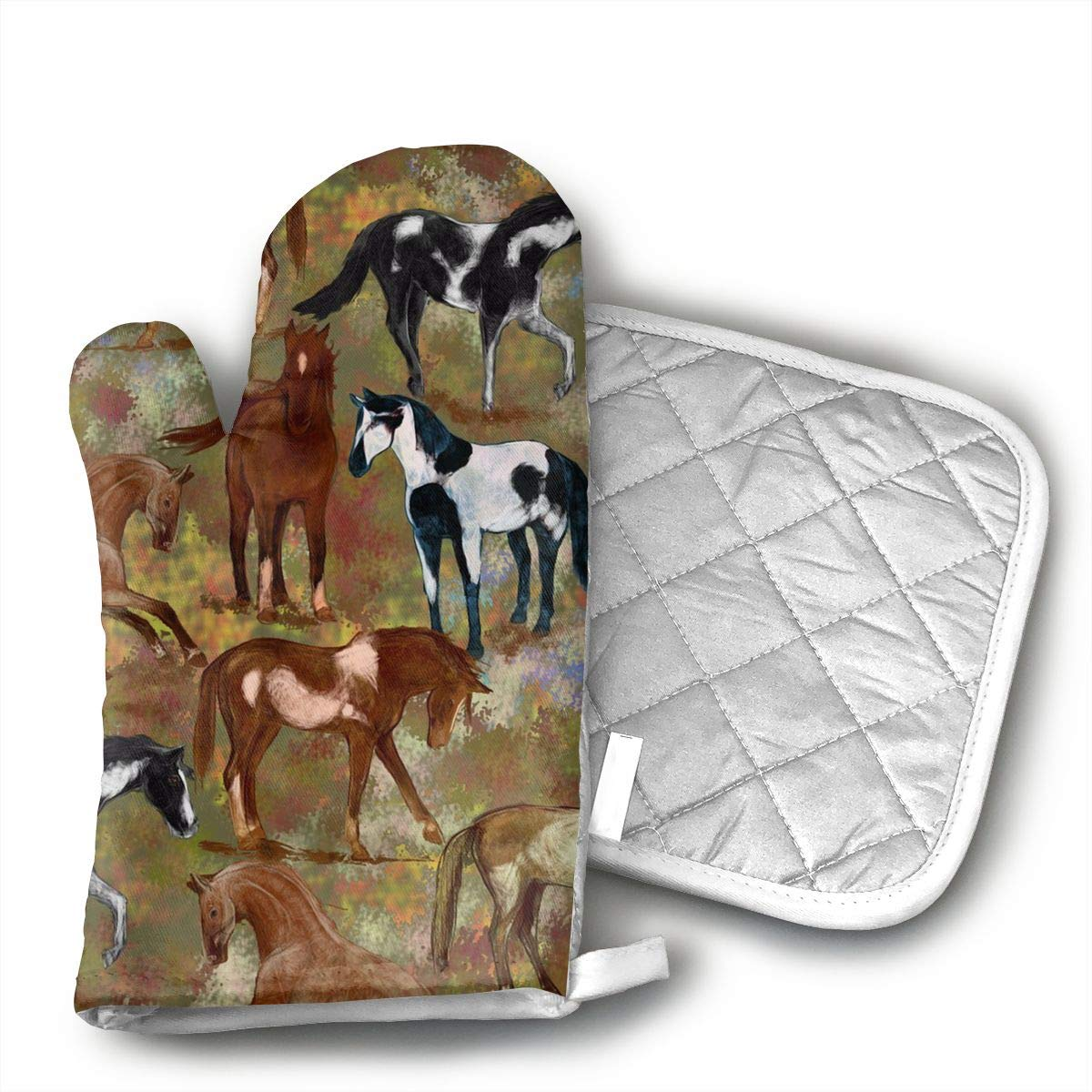 Ubnz17X Autumn Horses Oven Mitts and Pot Holders for Kitchen Set with Cotton Non-Slip Grip,Heat Resistant