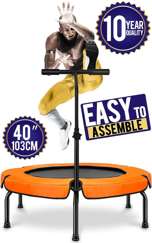 Happy Jump Trampolín , Plegable Cama Elástica Fitness con Mango ,Ø 101 cm ,Peso Carga Máximo 250lbs
