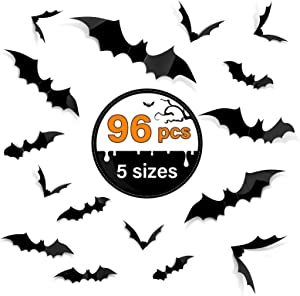 Kidtion 96 PCS Halloween 3D Bats with 5 Sizes, 2020 Upgraded DIY Party Supplies, Bat Decals for Walls, Realistic Halloween Scary Decorations Indoor/Outdoor, Removable Bat Wall Stickers Decals, Festival Party Must-Have