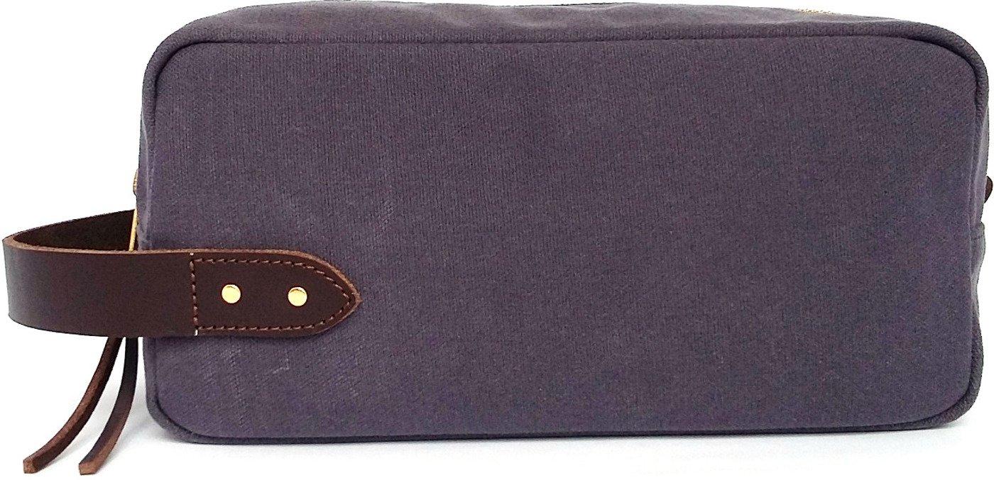 SATUMU Dopp Kit - Gray : Waxed Canvas Shaving and Toiletries Travel Bag - Best Groomsmen Gifts
