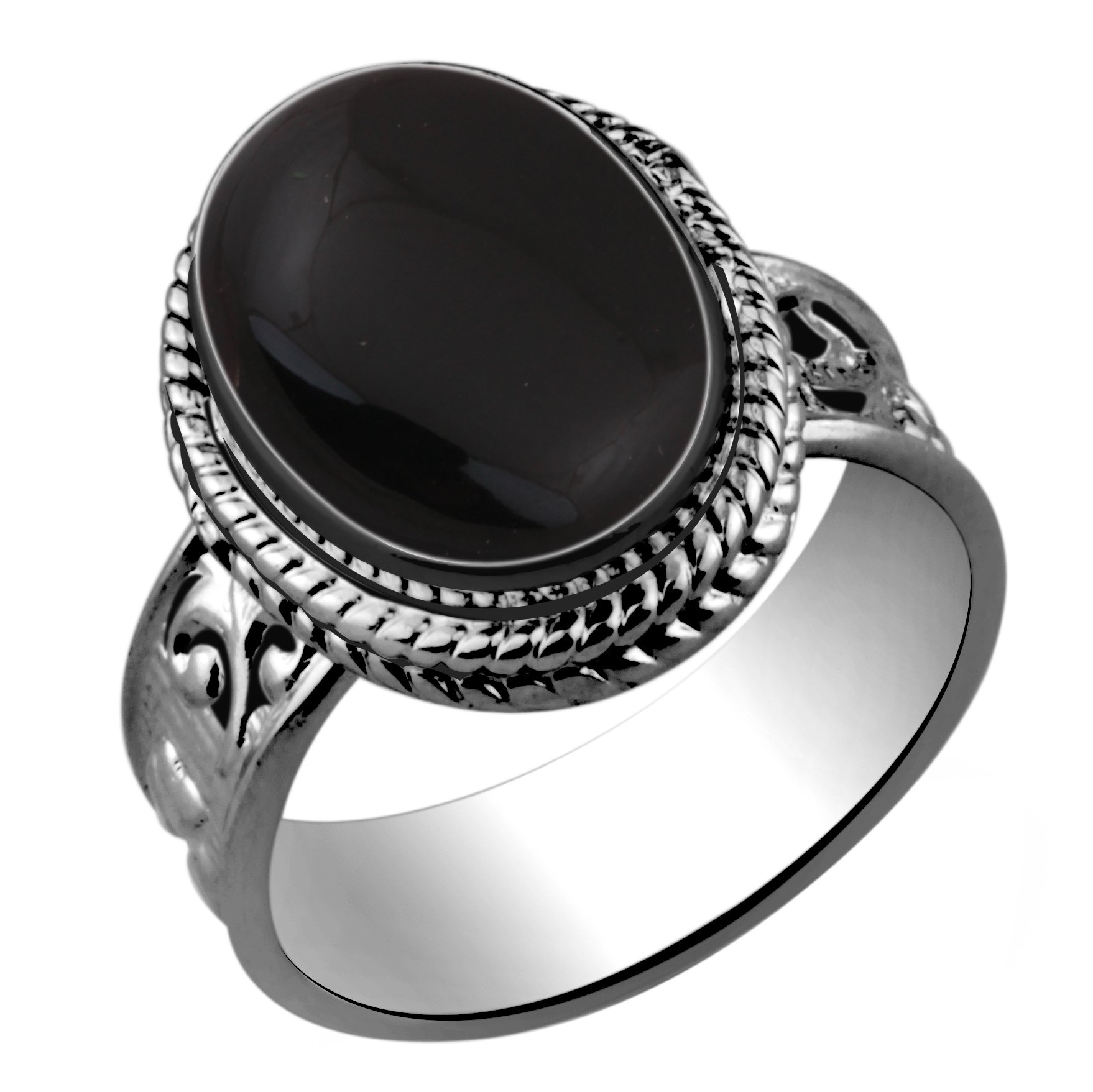 5.60ctw,Genuine Black Onyx 10x14mm Oval & .925 Silver Plated Handmade Ring (Size-8)