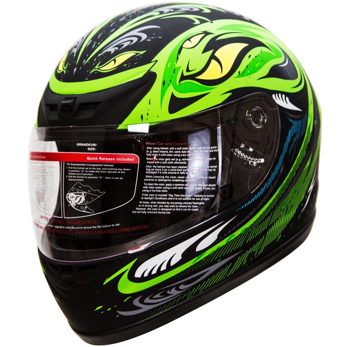 IV2 Serpent Green Full Face Street Bike Motorcycle Helmet [DOT] - Medium