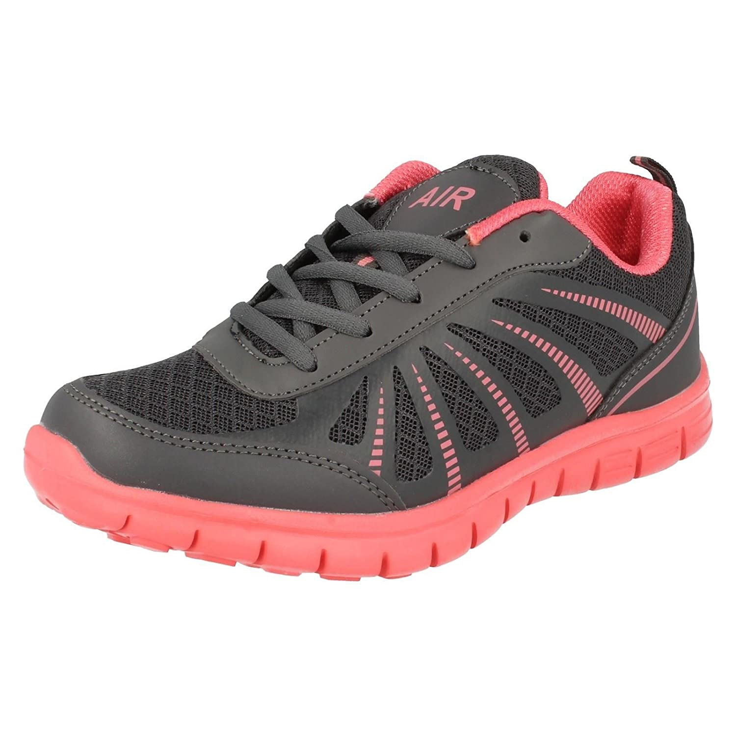 LADIES AIR TECH LACE UP TRAINERS IN DARK GREY//SALMON TRACER