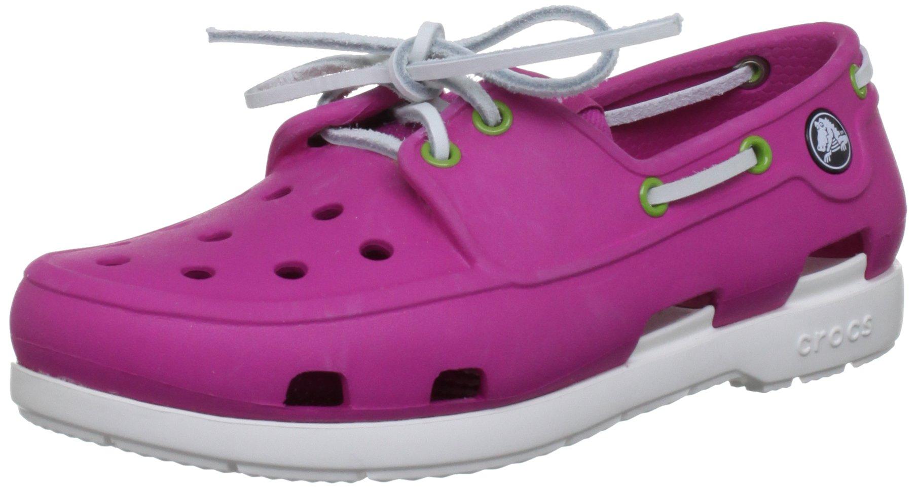 Crocs 14405 Beach Line J Shoe (Little Kid/Big Kid),Fuchsia/White,2 M US Little Kid
