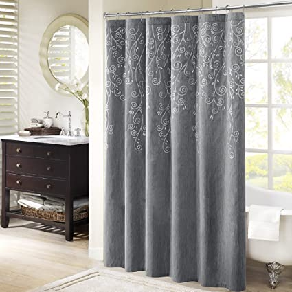 Madison Park Tara Pattern Grey Shower Curtain Embroidered Transitional Curtains For Bathroom 72
