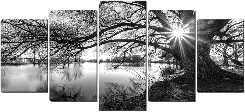 5 Panels Black White Tree in Surise Time Wall Art Lake Landscape Canvas Pictures for Wall Framed Painting for Bedroom Living Room Office Ready to Hang