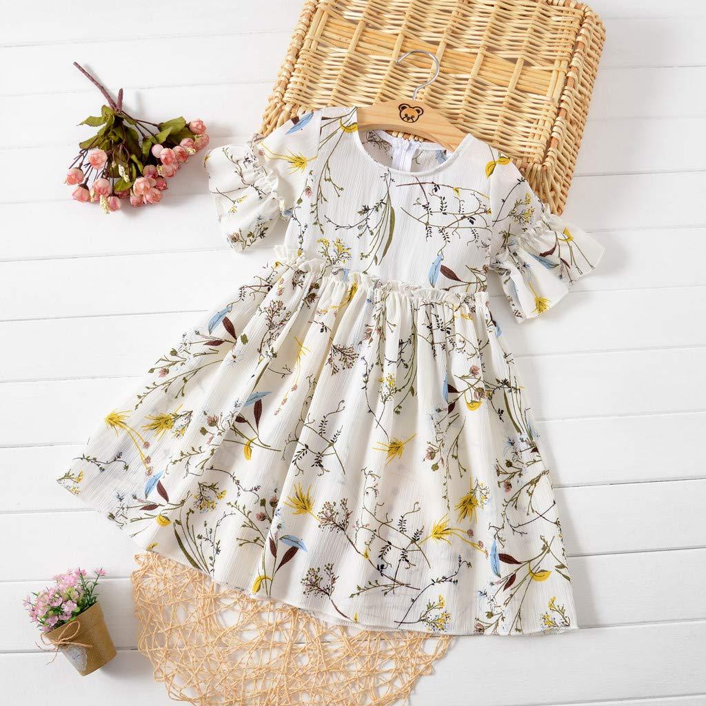 GorNorriss Baby Casual Dress Short Sleeve Ruffle Summer Floral Flower Dress Princess Skirt
