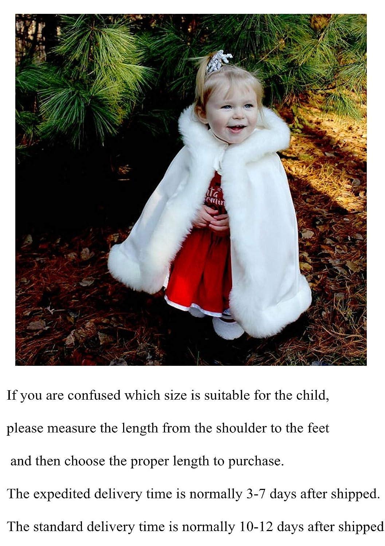 BEAUTELICATE Flower Girl Cape Winter Wedding Cloak for Infant Junior Bridesmaid Hooded Reversible Cloak-06