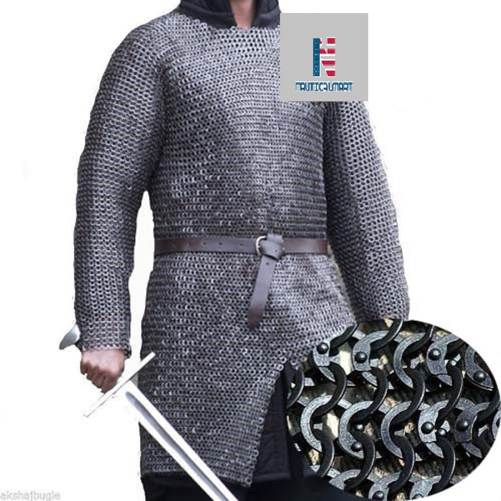 Queen Brass Chainmail Shirt S Size Short Length Rust Proof Butted Chain Mail Costume Standard Black
