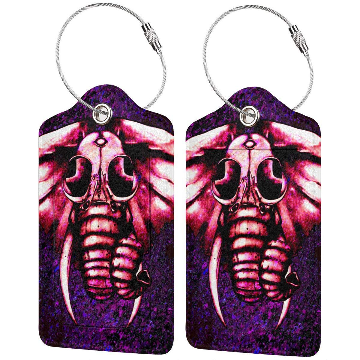Space Galaxy Pink Elephant Travel Luggage Tags With Full Privacy Cover Leather Case And Stainless Steel Loop