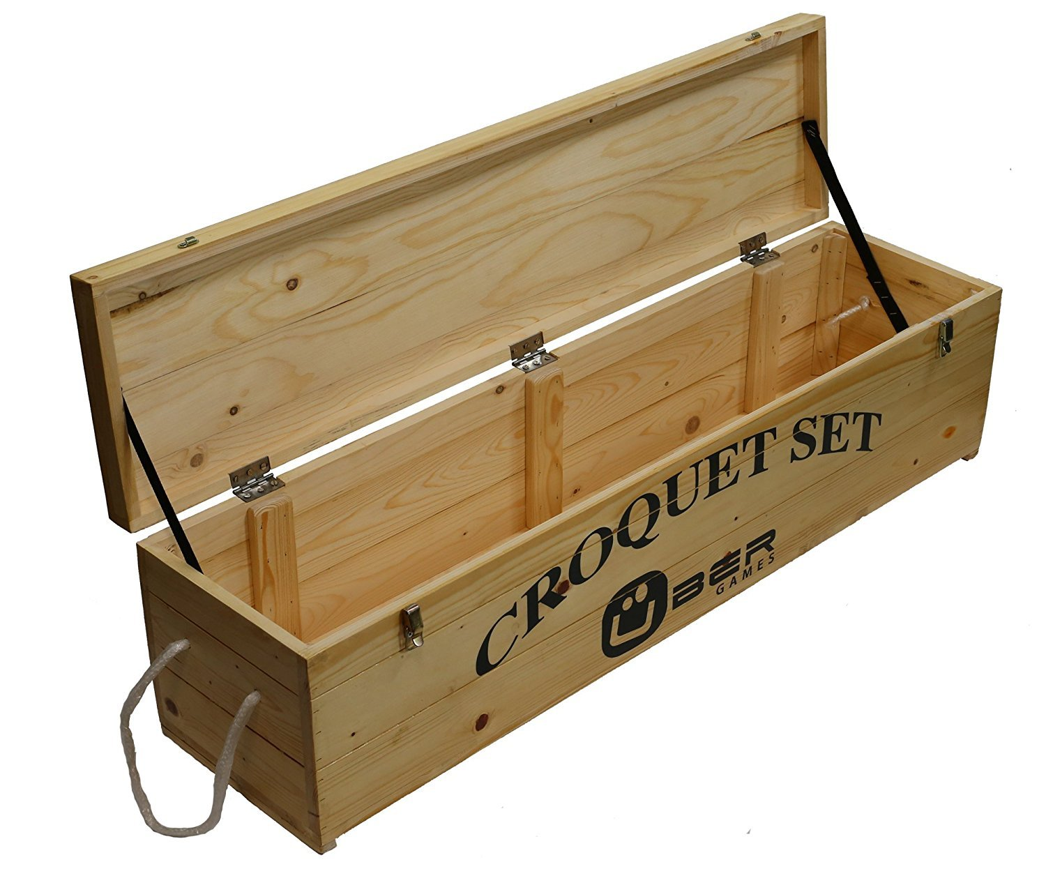 Uber Games Wooden Storage Box for 9-Wicket Croquet Game Set - Pine - 6 Player