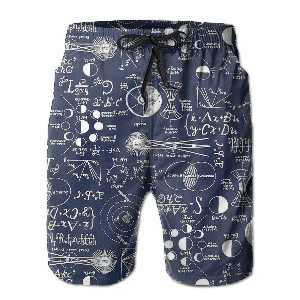 BECHDS Mens Astronomy Space Exploration Science Drawstrings Beach Shorts