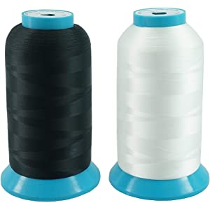 New brothread Conjunto de 2 (Negro+Blanco) 5000M (5500Y) Poliéster Bordado
