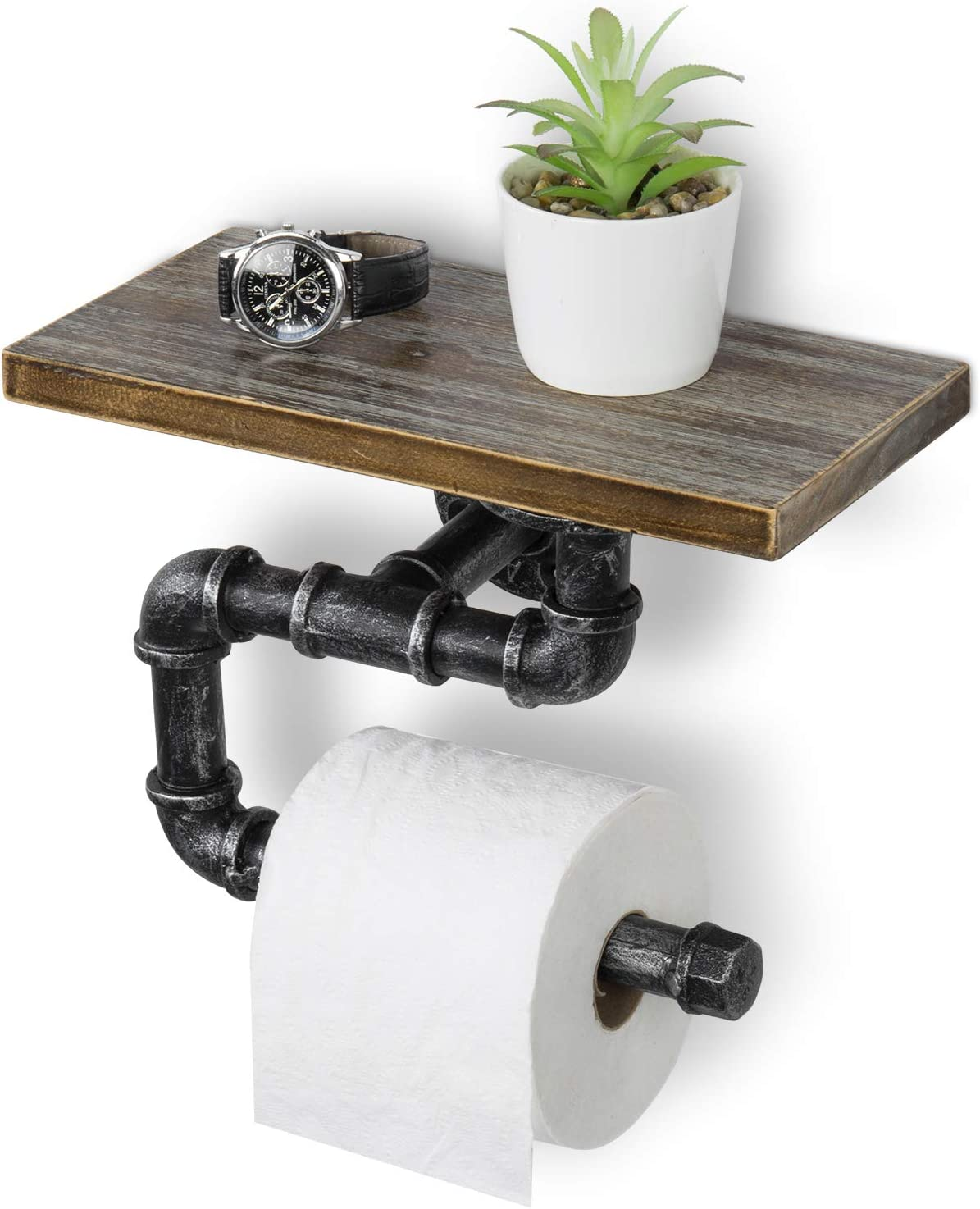 MyGift 12 x 6 Inch Industrial Wall-Mounted Pipe Toilet Paper Roll Holder with Rustic Wood Shelf