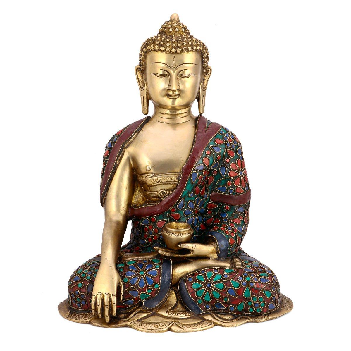 Collectible India Large Buddha Idol - Mudra Pose - Turquoise