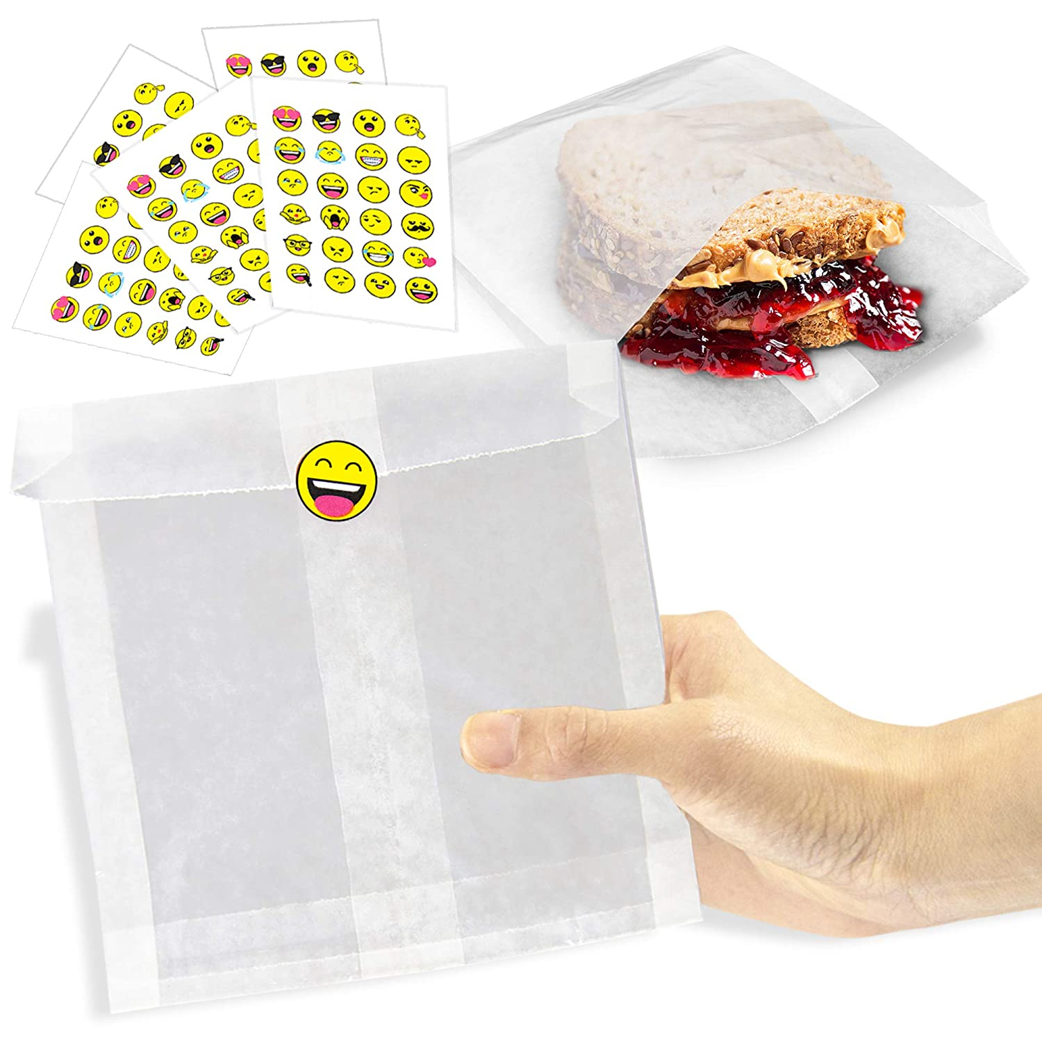 [200 Bags and 200 Stickers Pack] 7 x 6 x 1 Inch Wet Wax Paper Sandwich Bags with Emoji Kid Sticker Label - Biodegradable White Glassine Bag Sheet, Food Grade Grease Resistant for Snacks, Bakery Bread