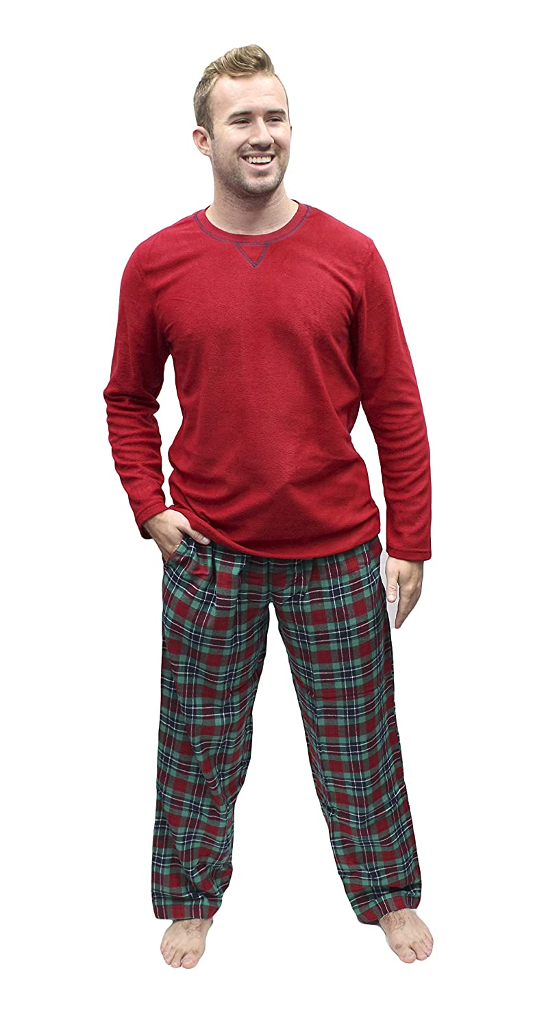 89d2c8868a Chaps Red Micro Fleece Top   Plaid Flannel Pants Lounge Sleep Pajama Set -  Small at Amazon Men s Clothing store
