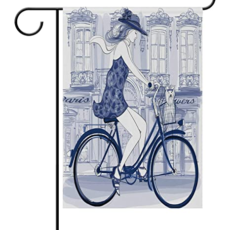 Desing shop Cartoon Girl Riding Bike Street Home Decorative ...