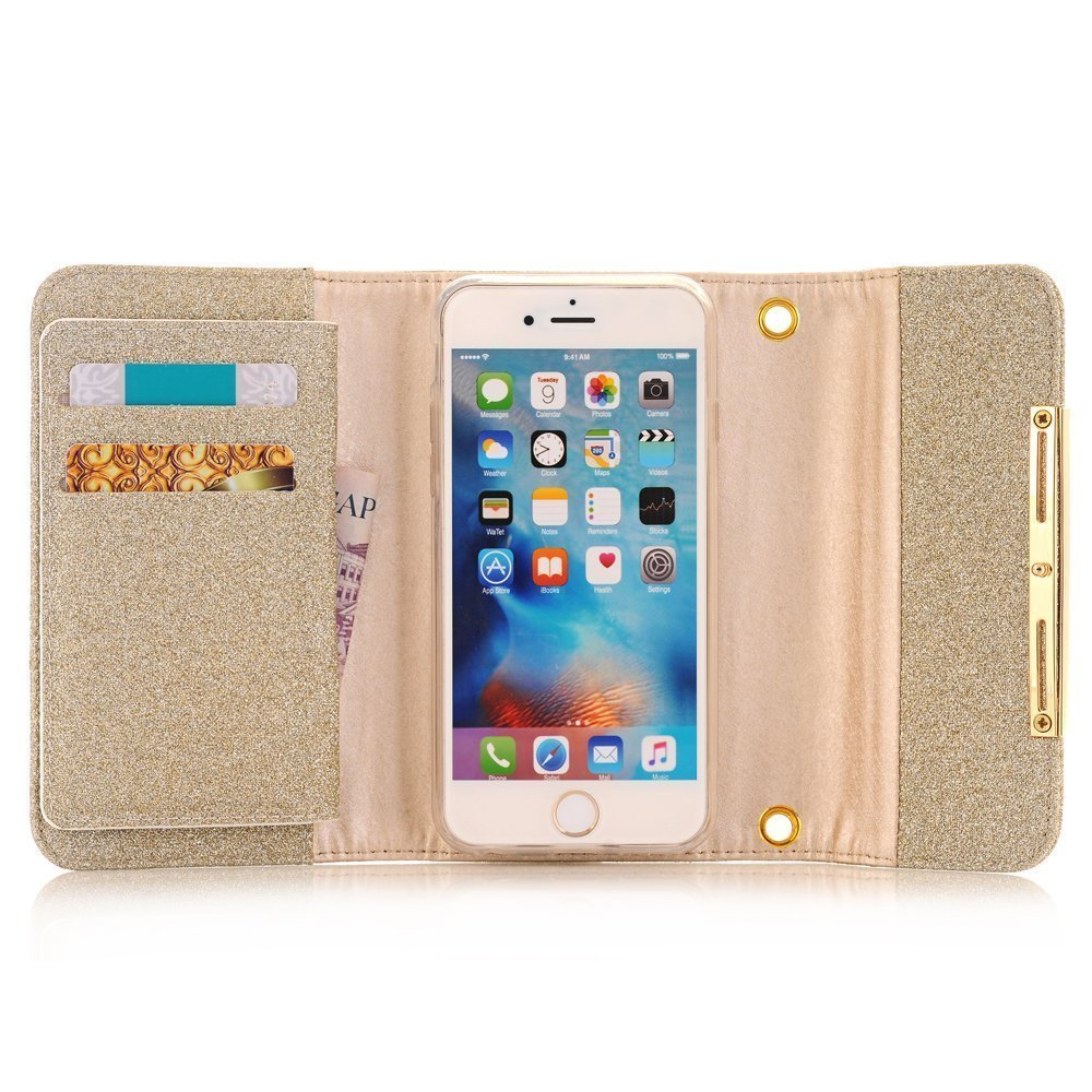Apple iPhone X Case Wallet Cover,MeLiio Girls Cute Style Glitter Powder PU Leather Stand Flip Book Cover with Cards Slots Lady Multi Envelope Wallet Carrying Case Handbag for iPhone X 5.8 inch (Gold) by MeiLiio (Image #3)