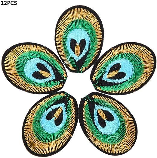 12 UNIDS Parches de Tela Bolsa de Coser Ropa DIY Pavo Real Feather Patrón Apliques de Accesorios Bordado: Amazon.es: Hogar