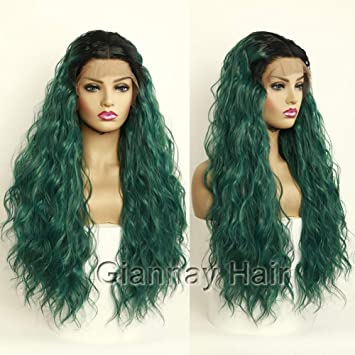 Amazon Com Giannay Hair Green Wigs Dark Roots Ombre Wig Long Wavy