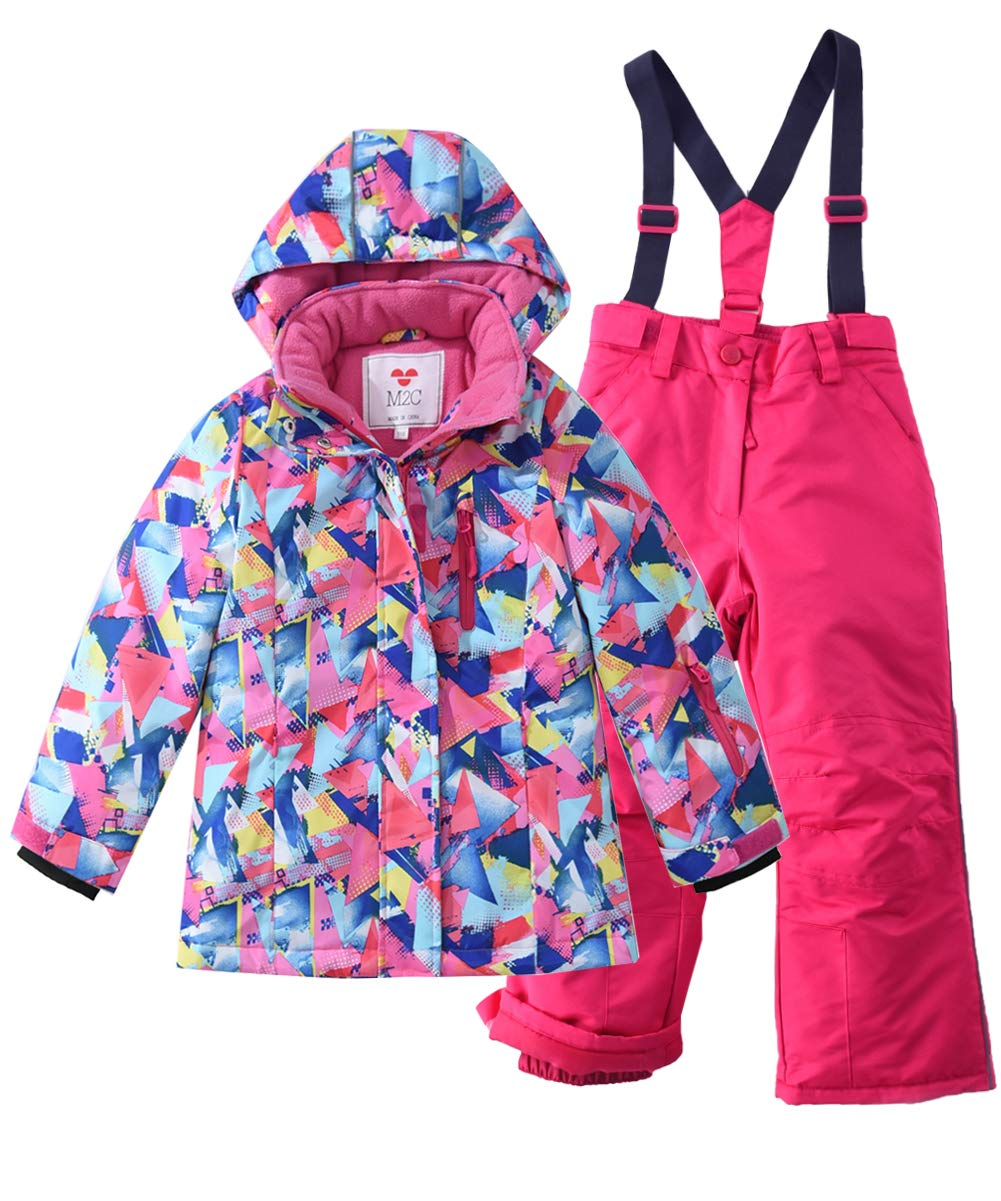 M2C Girls Thicken Warm Hooded Color Block Ski Snowsuit Jacket & Pants Pink 6/7 by M2C
