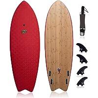 Hybrid Surfboard (6' Shortboard)-Wax-Free Textured Foam Top Deck & Glass Bottom Deck (6oz Fiberglass) with FCSII Boxes…