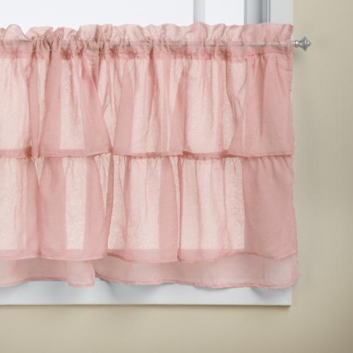 LORRAINE HOME FASHIONS Gypsy Shabby Chic Layered Ruffle Window Tier, 60 by 24-Inch, Pink