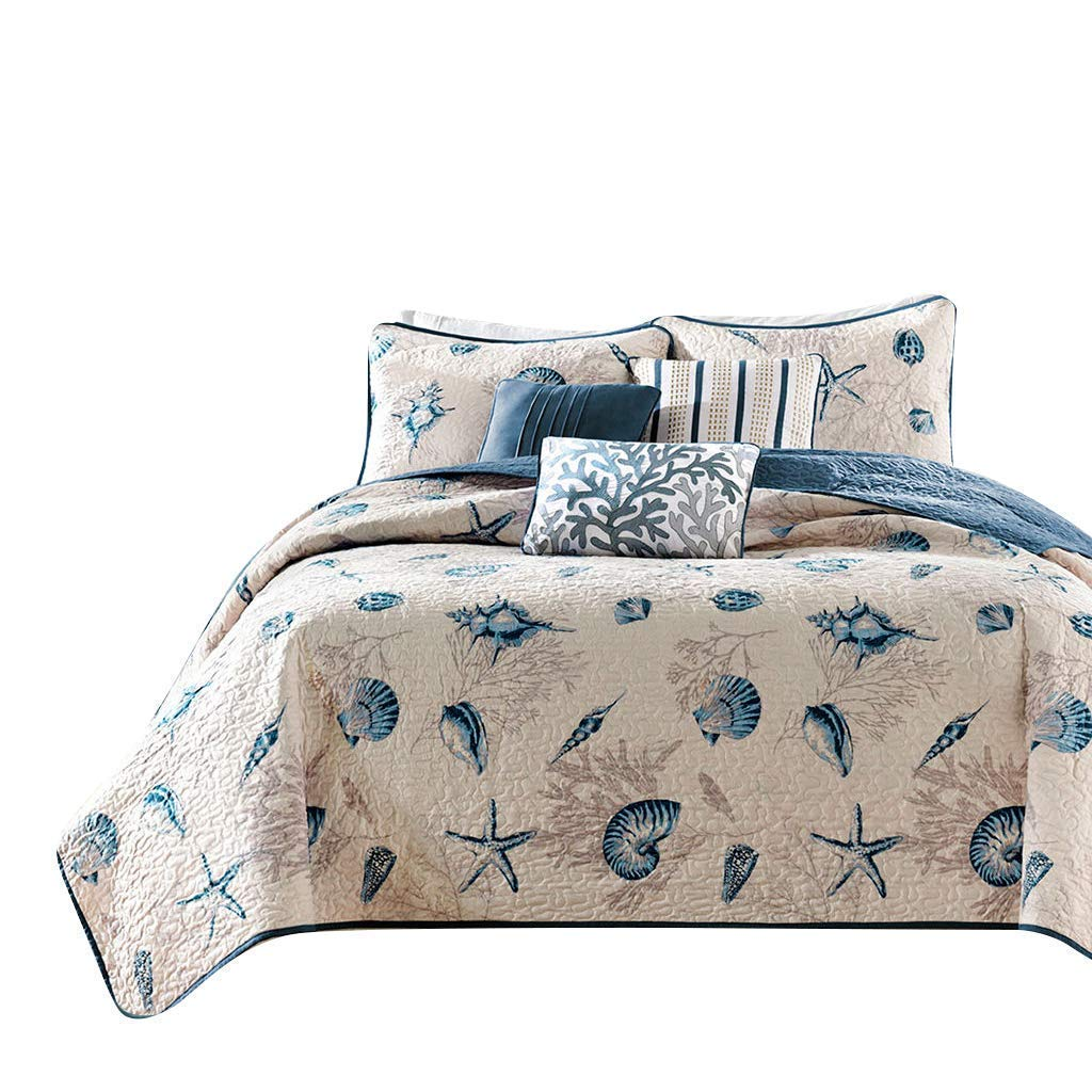 7 starfish Twin mixinni Luxury Bedding 3 Pieces bluee Grey Duvet Cover Set King Triangle Pattern Reversible Design with 100% Soft Cotton, Breathable Hypoallergenic Durable with Zipper Ties
